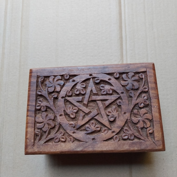 Hand Carved Wooden Box Star Of David